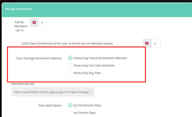 Limit user booking selection for class packages