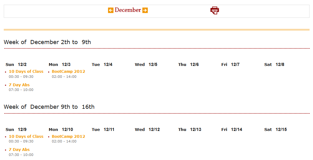 Month Schedule