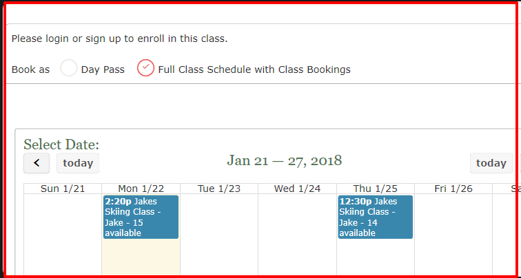 Day pass booking with full schedule
