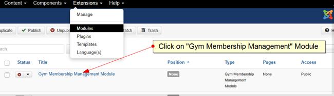 click on module
