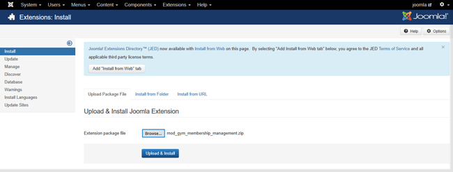go to extension and load module